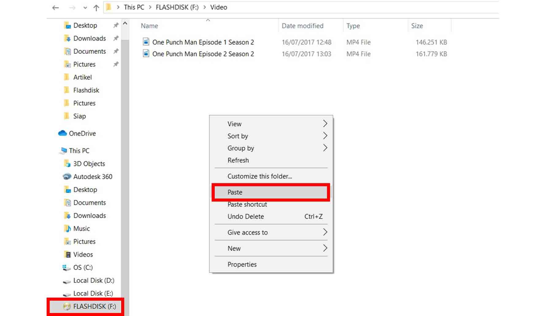 Cara Memindahkan File ke Flashdisk Metode Copy Paste
