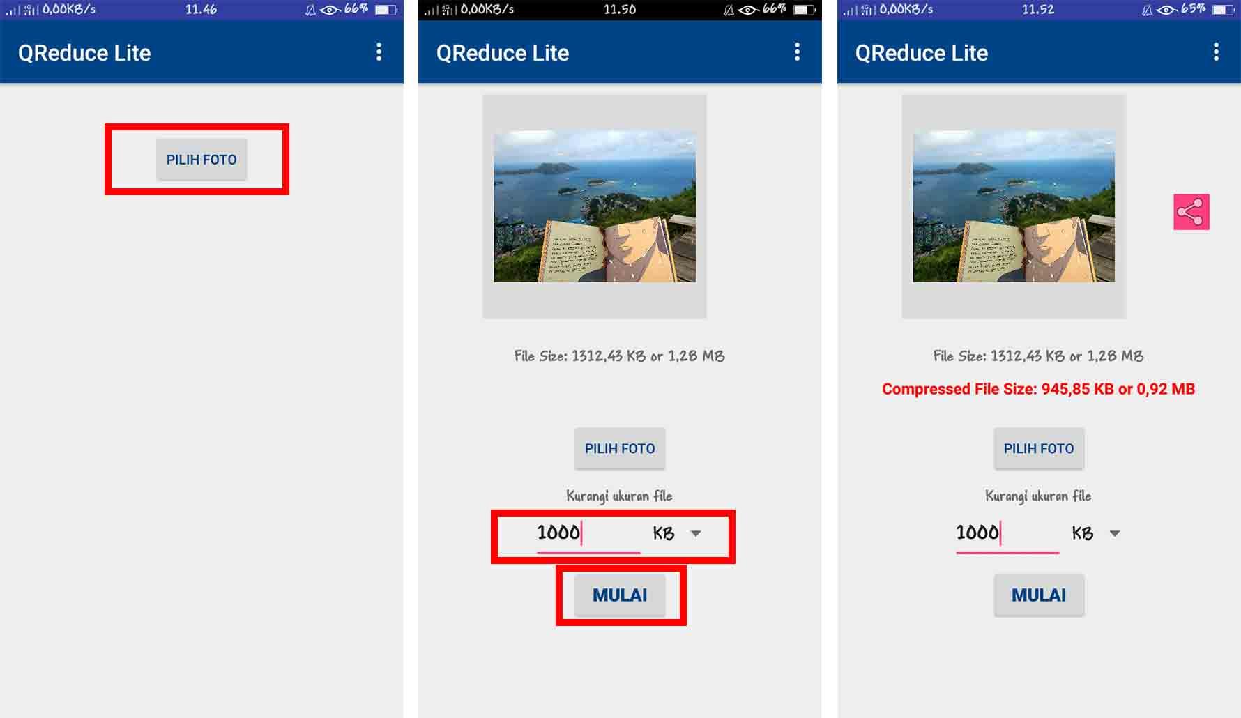 Mengecilkan Ukuran JPG atau PNG dengan Aplikasi Compress Image (QReduce Lite)
