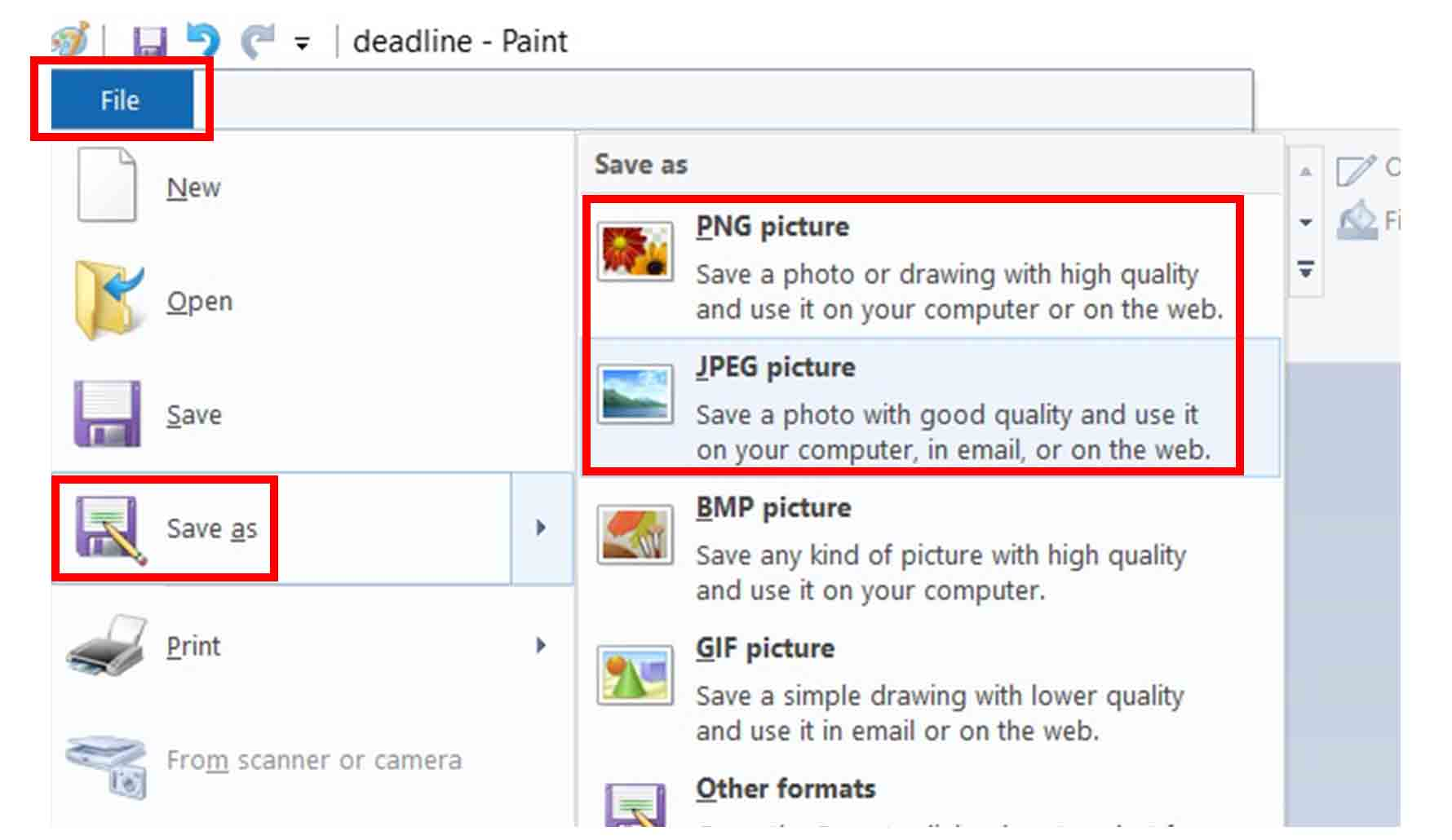Mengecilkan ukuran JPG atau PNG dengan Paint