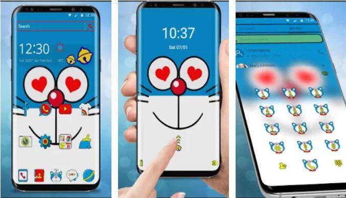 Tema Doraemon Blue Dorameow Cat