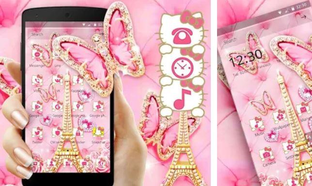 Pink Butterfly Eiffel Kitty Theme