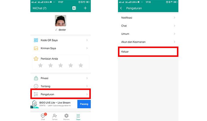 menghapus Akun MiChat