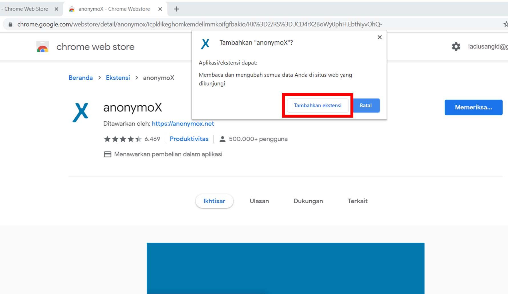 Cara Memasang Anonymox di Google Chrome