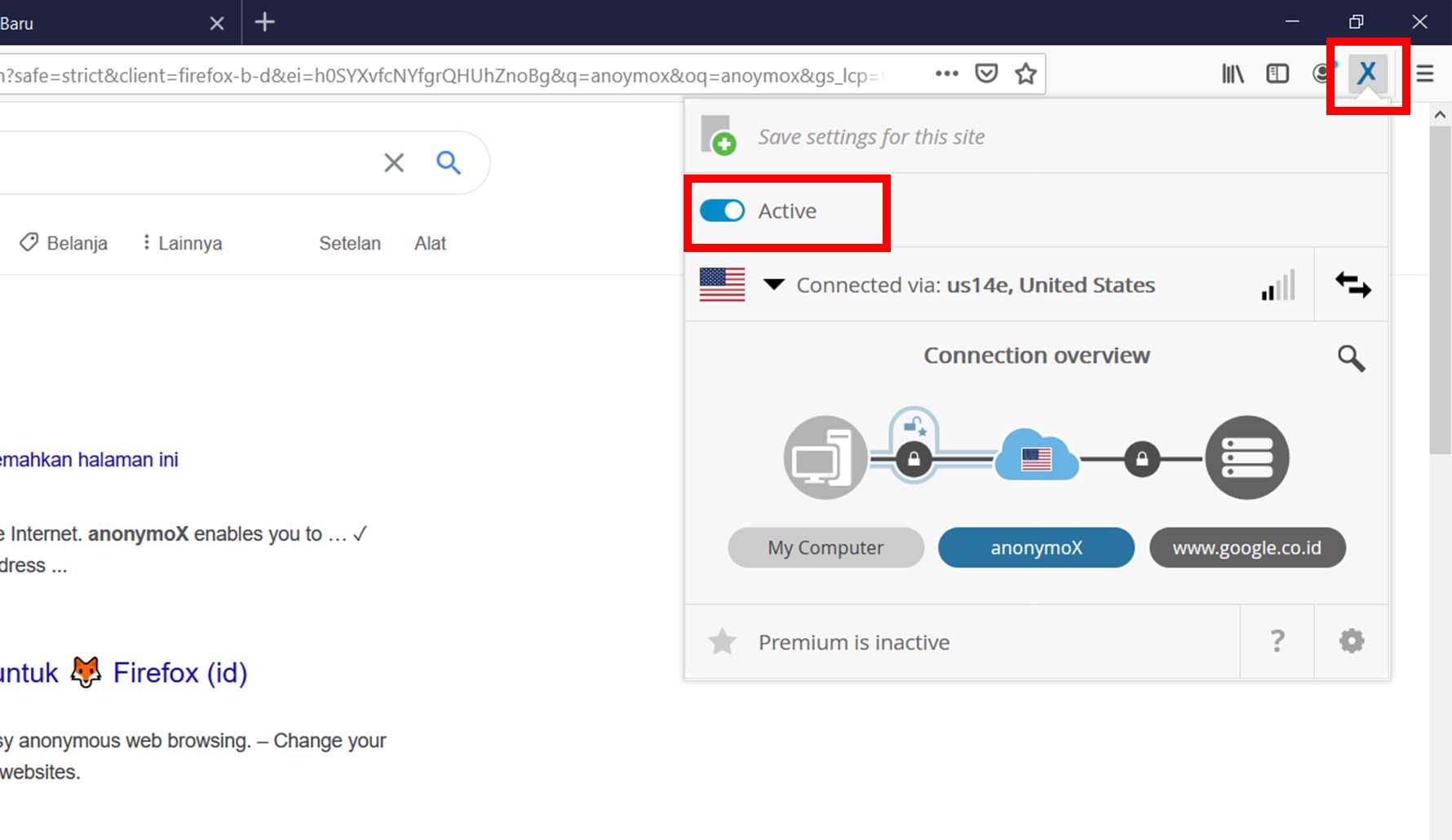 Anonymox di Mozilla Firefox