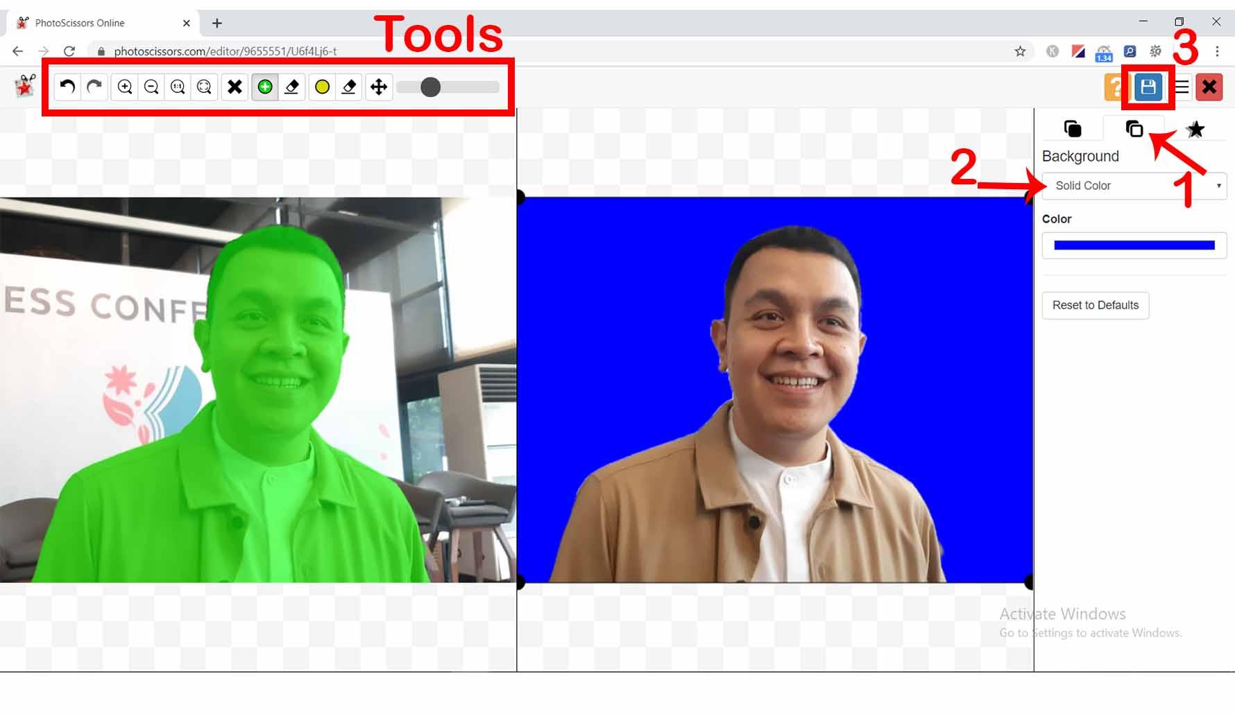 Mengganti Background Foto Online dengan photoscissors