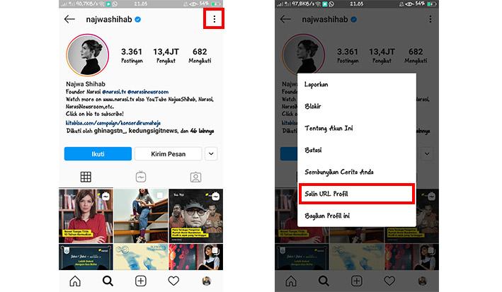 Cara Copy Link Profil Instagram Orang Lain