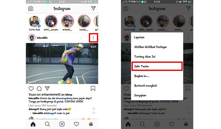 Cara Menyalin Tautan Video Instagram