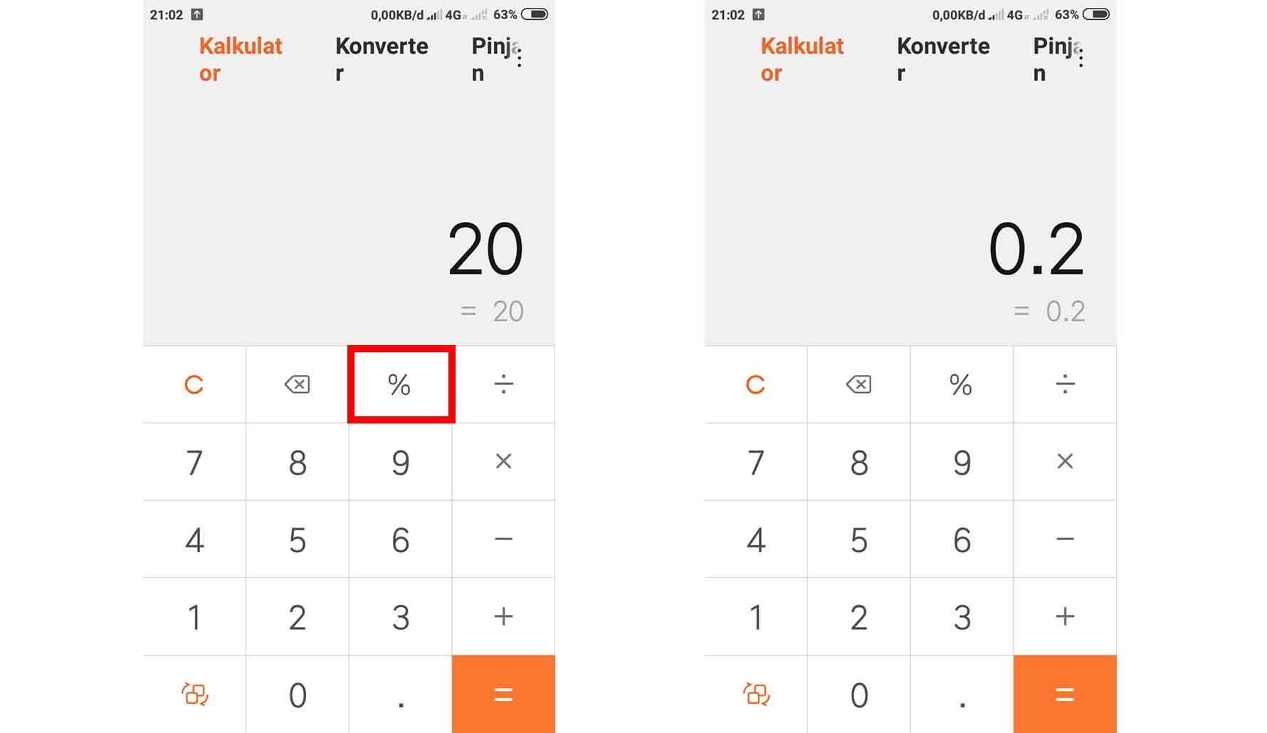 Cara Menghitung Persen di Kalkulator HP Ada Tombol Persennya
