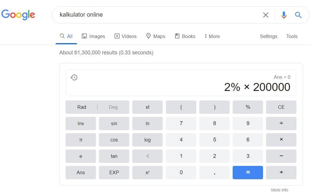 Cara Menghitung Persen di Kalkulator Online