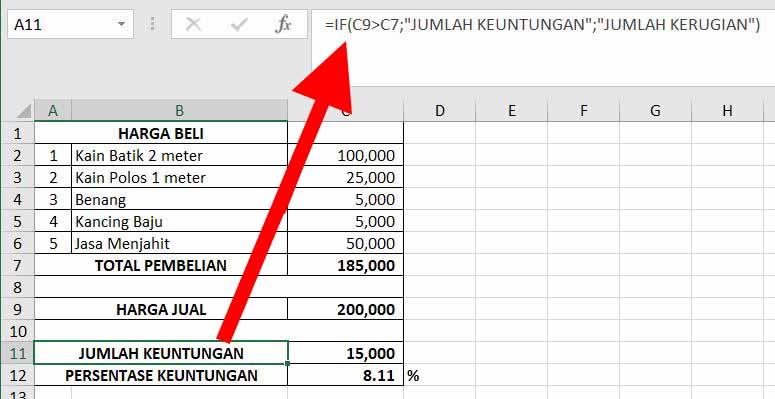 Cara Menghitung Persentase Keuntungan dan Kerugian di Excel