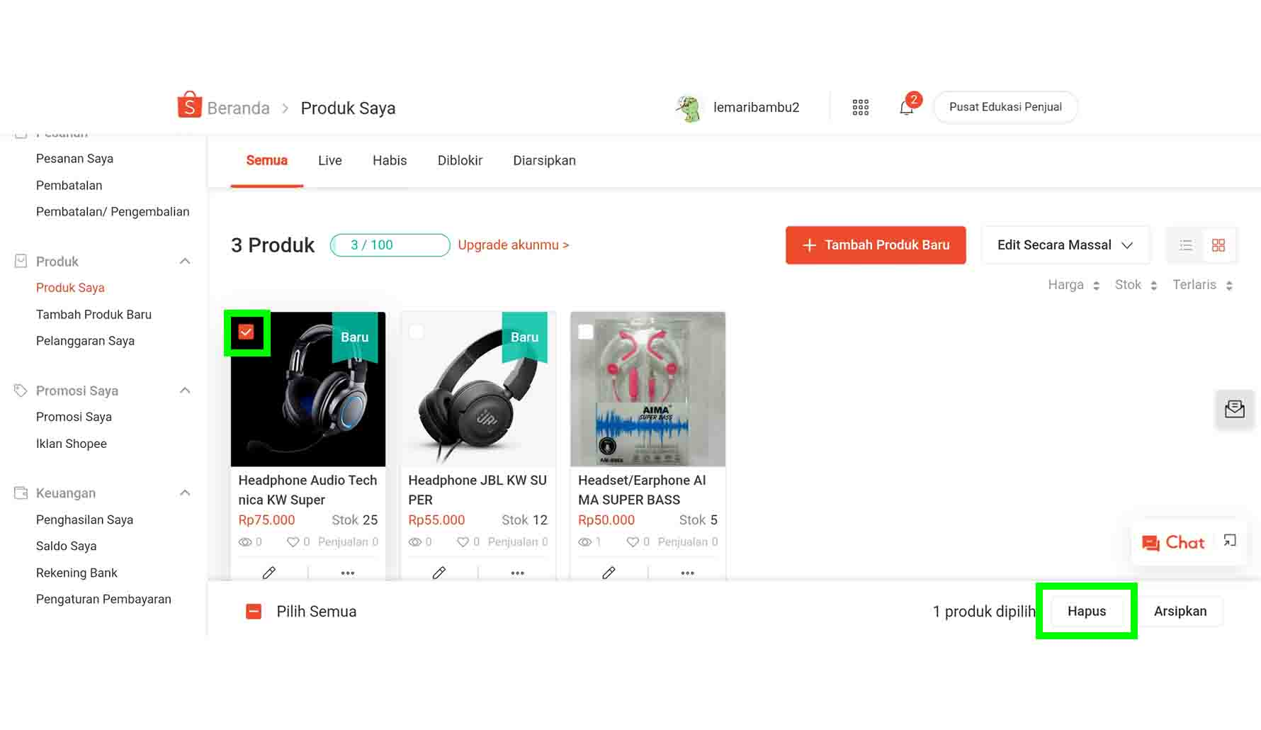 Cara Menghapus Produk Jualan di Shopee