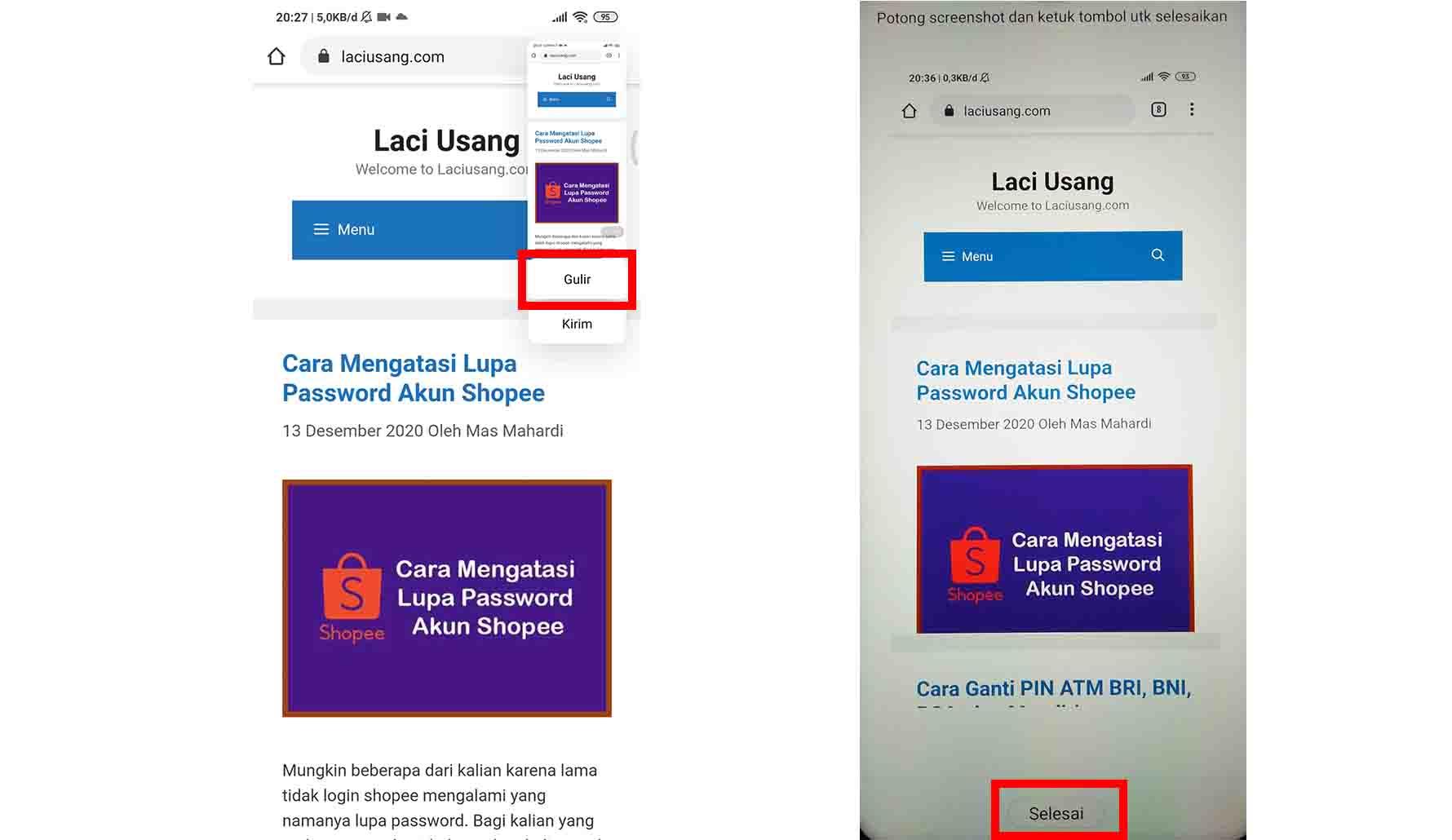 Cara Screenshot Panjang Redmi Note 8 dan Note 8 Pro