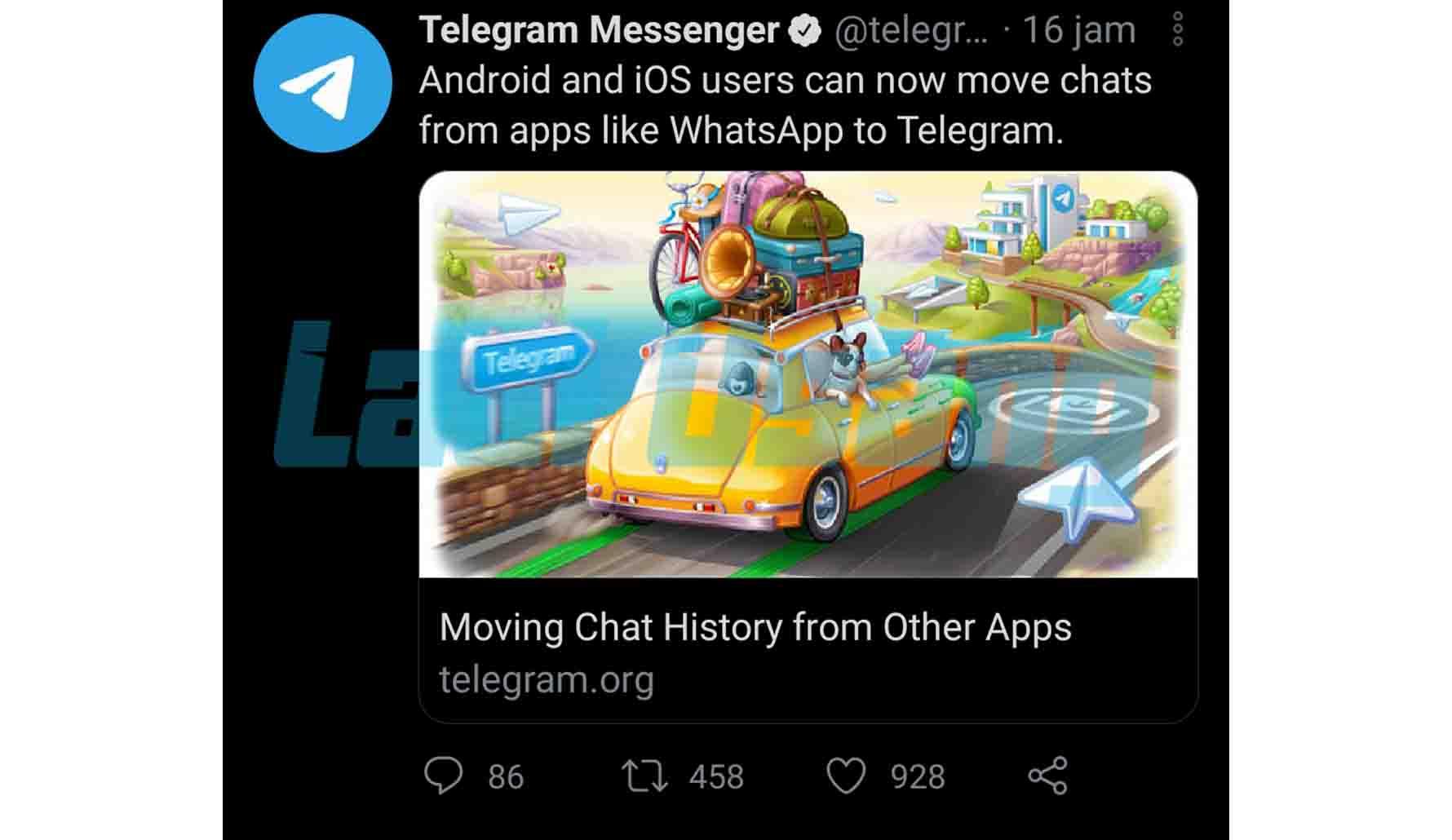Chat WhatsApp dapat dipindahkan ke Telegram