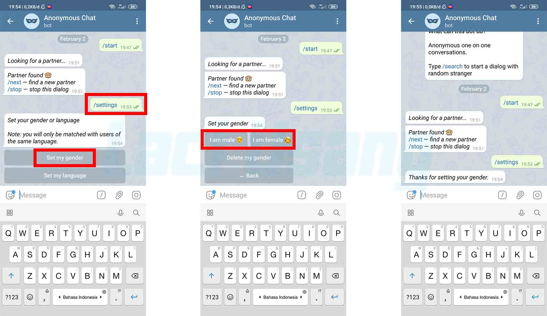Cara Main Anonymous Chat Telegram Dengan Set Gender