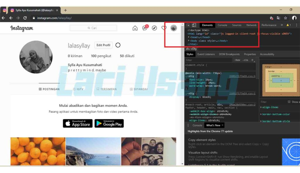 cara post instagram via web chrome dari pc