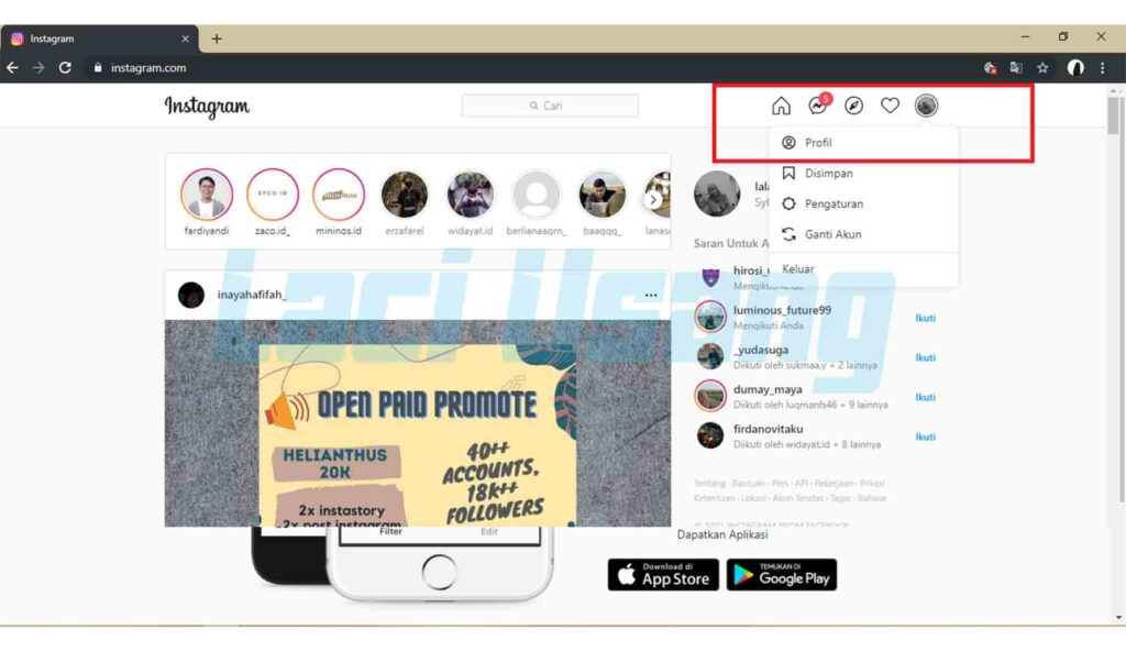 cara upload instagram via web dari pc