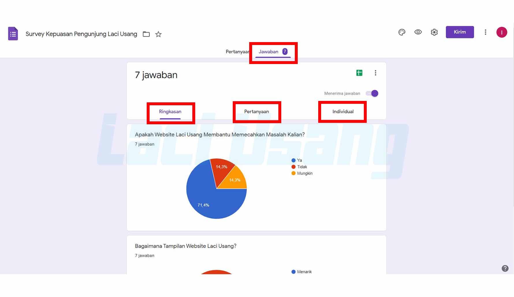 Cara Melihat Google Form Yang Telah Dikirim