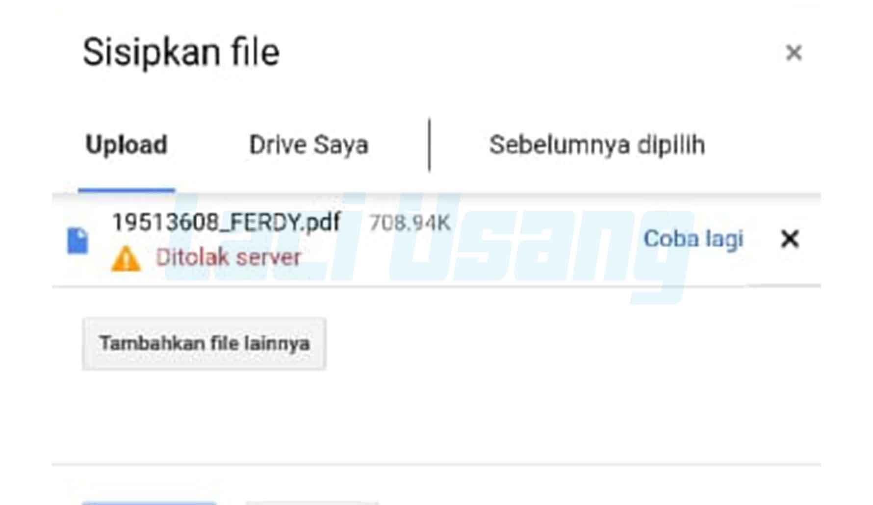 Cara Mengatasi Gagal Upload File Ditolak Server di Google Form
