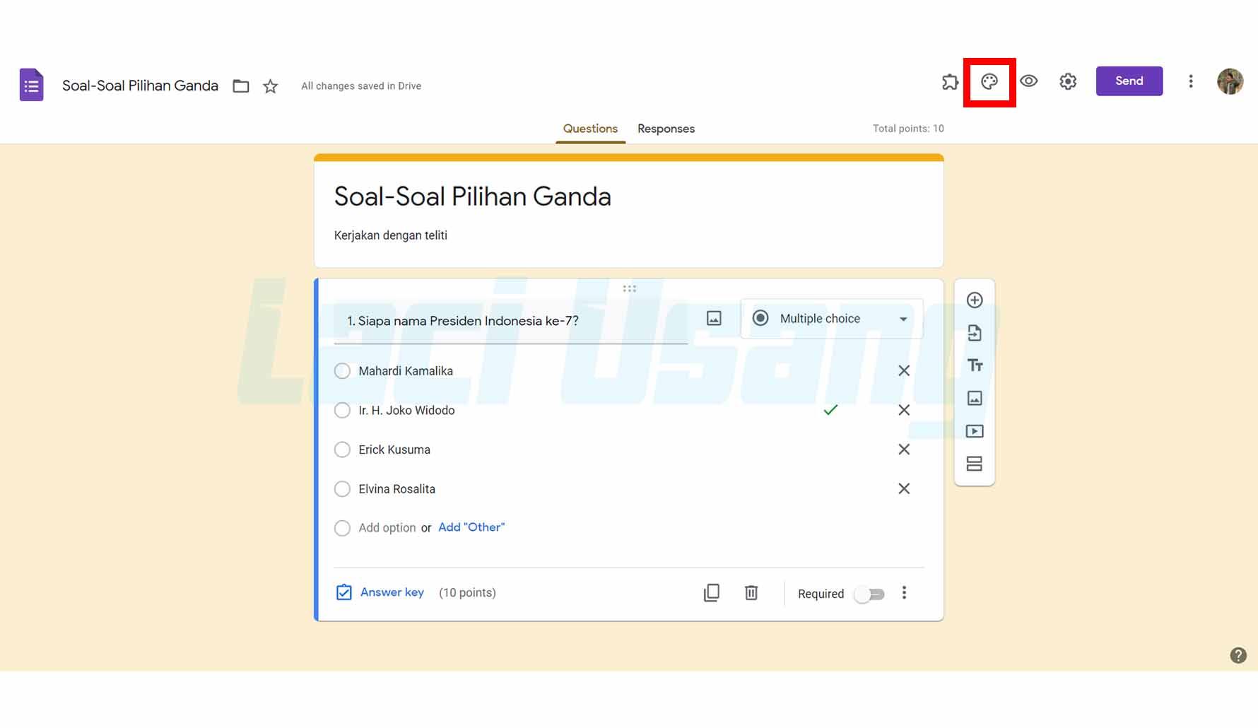 Pasang Header Google Form