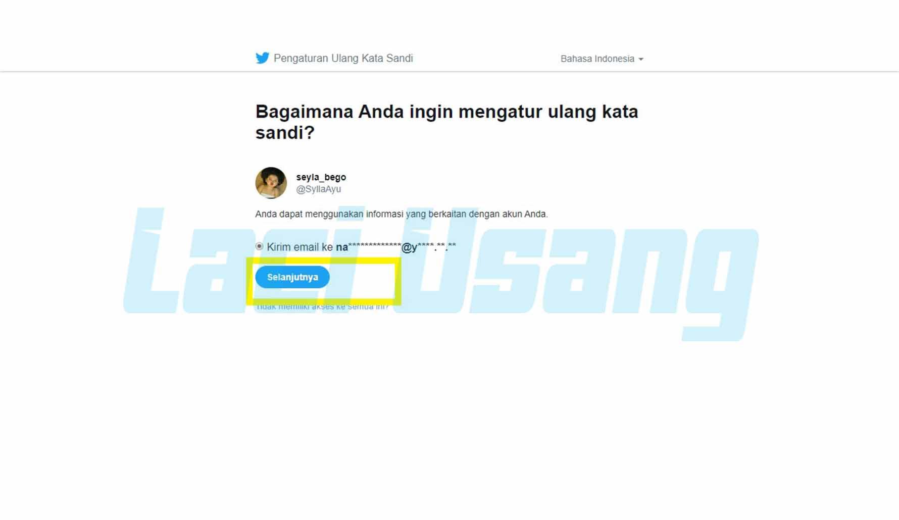 cara hapus akun twitter lupa sandi