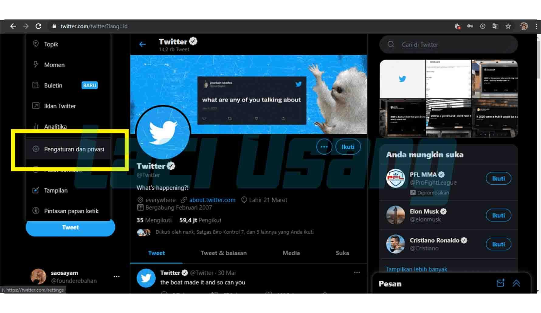 cara menghapus akun twitter di laptop