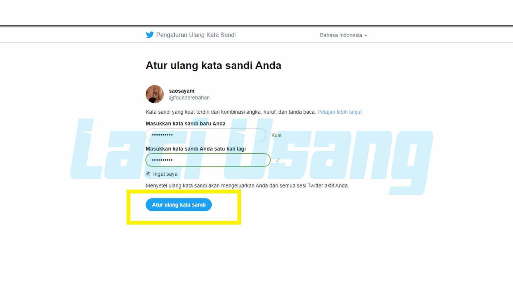 cara menghapus akun twitter lupa email dan sandi